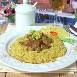 Dosen Bistro pollo al curry con riso e ananas (400g)