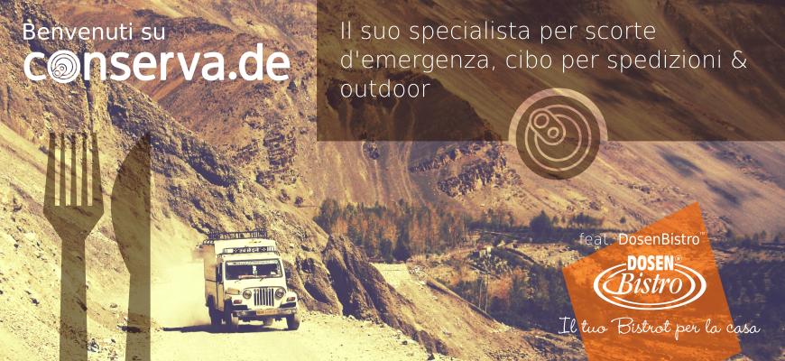 conserva.de - Specialista per forniture di emergenza, spedizione e fornitura di cibo outdoor.